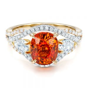 Custom Orange Sapphire Engagement Ring