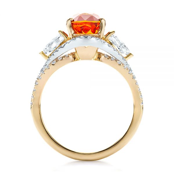14k Yellow Gold And 14K Gold Custom Orange Sapphire Engagement Ring - Front View -