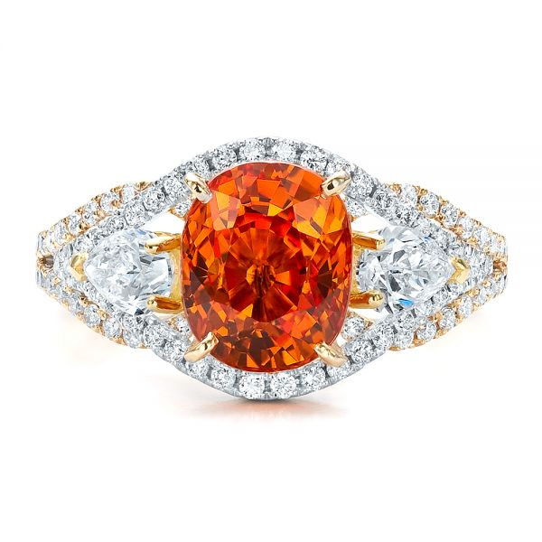 14k Yellow Gold And 14K Gold Custom Orange Sapphire Engagement Ring - Top View -