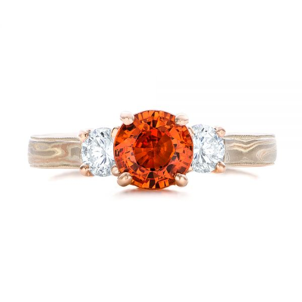 Custom Orange Sapphire and Diamond Mokume Engagement Ring - Image