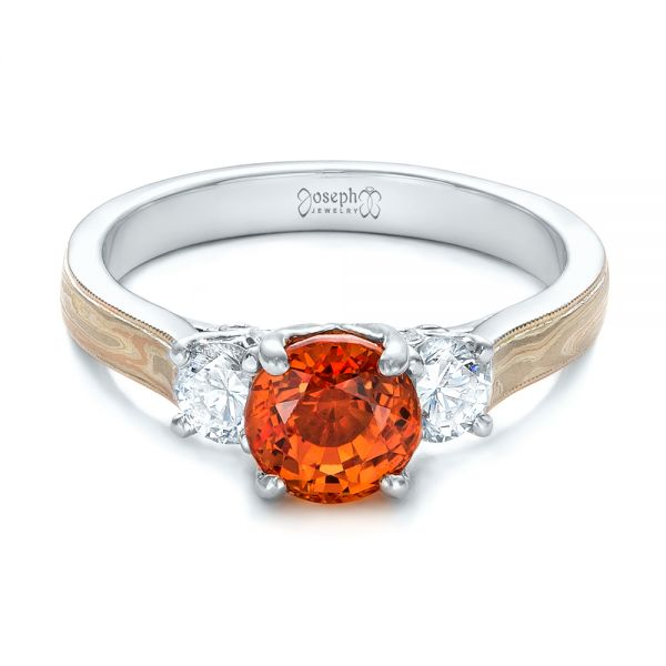 18k White Gold 18k White Gold Custom Orange Sapphire And Diamond Mokume Engagement Ring - Flat View -