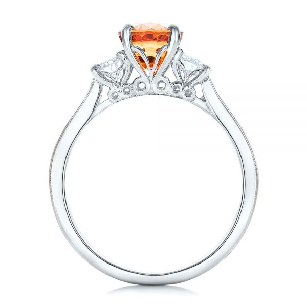 18k White Gold 18k White Gold Custom Orange Sapphire And Diamond Mokume Engagement Ring - Front View -