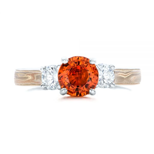 18k White Gold 18k White Gold Custom Orange Sapphire And Diamond Mokume Engagement Ring - Top View -