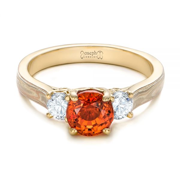 14k Yellow Gold 14k Yellow Gold Custom Orange Sapphire And Diamond Mokume Engagement Ring - Flat View -