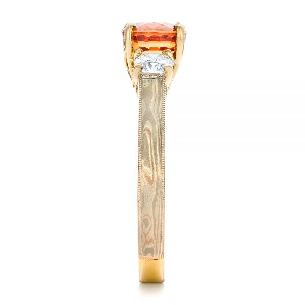 14k Yellow Gold 14k Yellow Gold Custom Orange Sapphire And Diamond Mokume Engagement Ring - Side View -