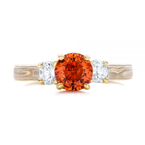 14k Yellow Gold 14k Yellow Gold Custom Orange Sapphire And Diamond Mokume Engagement Ring - Top View -