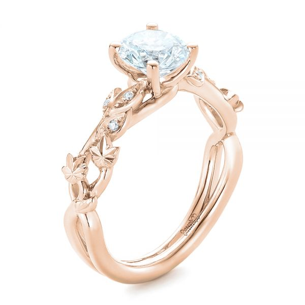 18k Rose Gold 18k Rose Gold Custom Organic Diamond Engagement Ring - Three-Quarter View -  102313