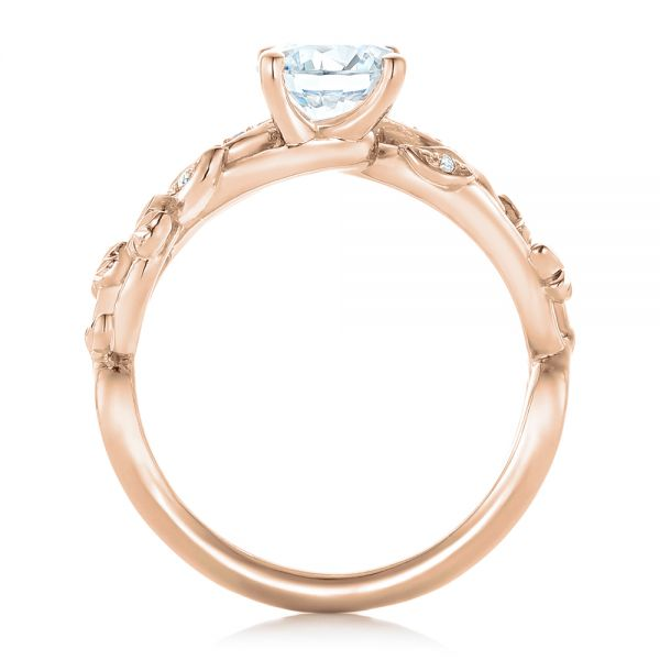 18k Rose Gold 18k Rose Gold Custom Organic Diamond Engagement Ring - Front View -  102313