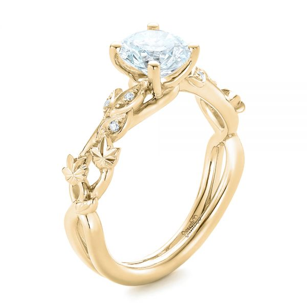 Engagement Rings Jewellery Quarter: 14k Yellow Gold Custom Organic Diamond Engagement Ring