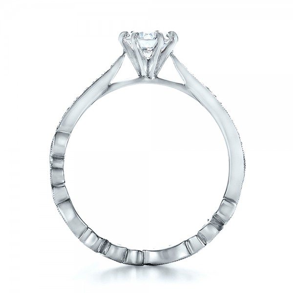 Custom Organic Diamond Engagement Ring - Finger Through View