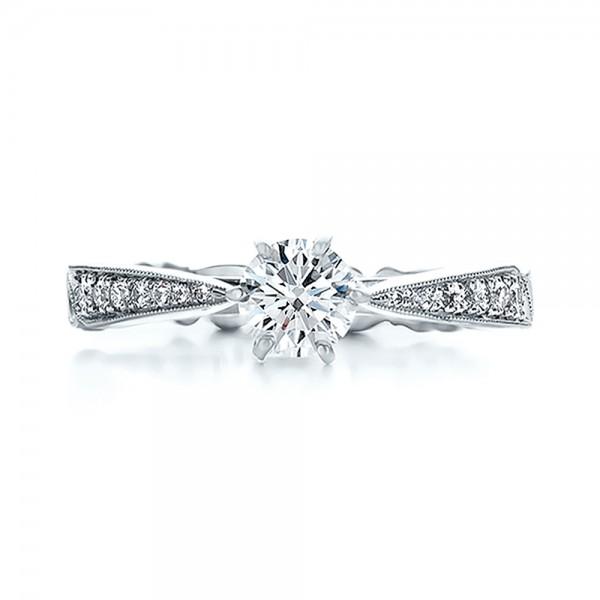 Custom Organic Diamond Engagement Ring - Top View