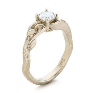 Custom Organic Diamond Solitaire Engagement Ring - Image