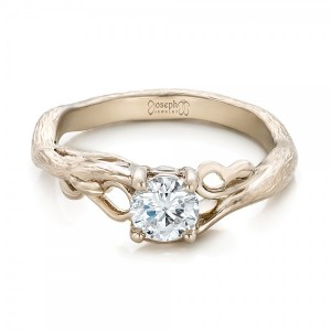 Custom Organic Diamond Solitaire Engagement Ring