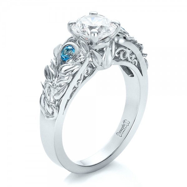Custom Organic Diamond and Blue Topaz Engagement Ring 100600