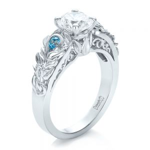 Custom Organic Diamond and Blue Topaz Engagement Ring - Image