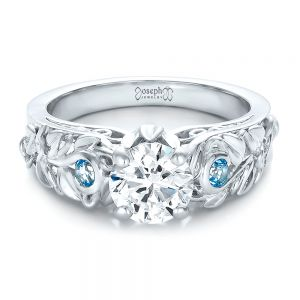 Custom Organic Diamond and Blue Topaz Engagement Ring