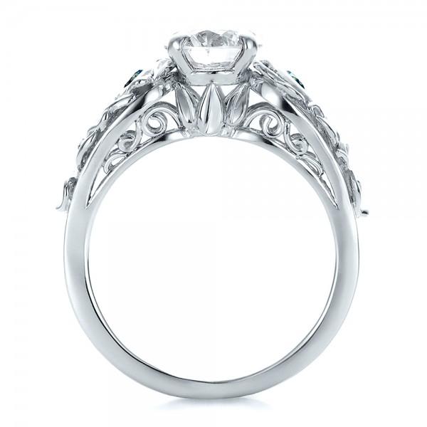 Custom Organic Diamond and Blue Topaz Engagement Ring - Finger Through View