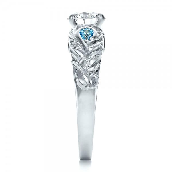 Custom Organic Diamond and Blue Topaz Engagement Ring - Side View