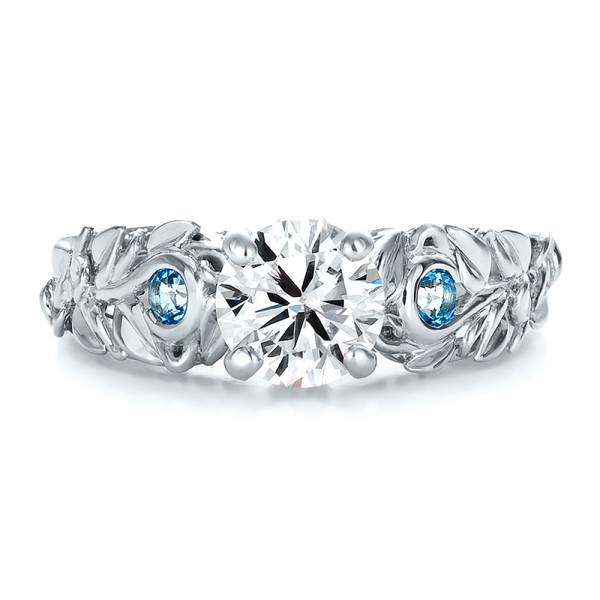 custom organic diamond and blue topaz engagement ring top view - Blue Topaz Wedding Rings