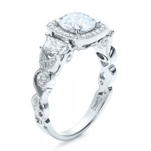 Custom Organic Engagement Ring with Halo - Image