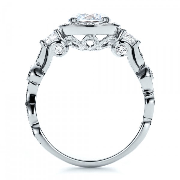 Custom Organic Engagement Ring with Halo - Finger Through View