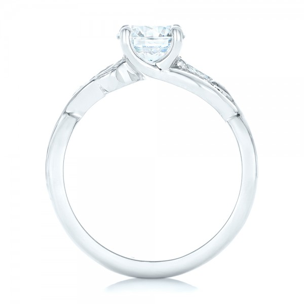 Floral Diamond Engagement Ring - Finger Through View