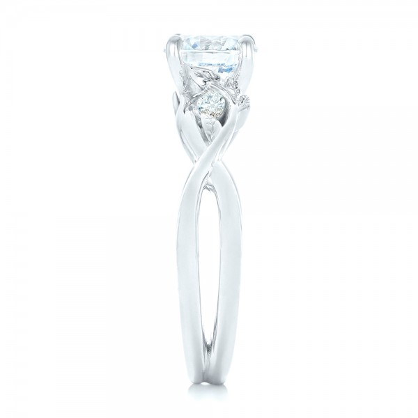 Floral Diamond Engagement Ring - Side View