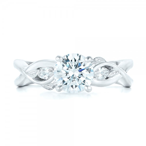 Floral Diamond Engagement Ring - Top View