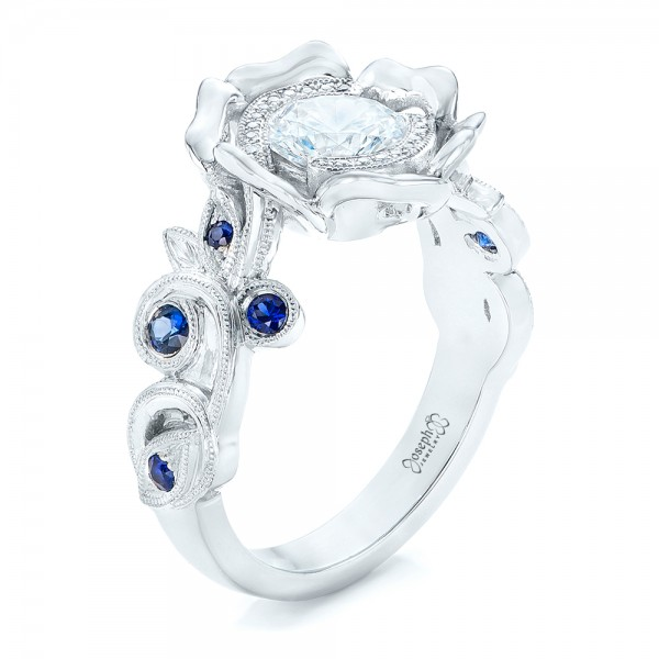Organic Flower Halo Diamond and Blue Sapphire Engagement Ring