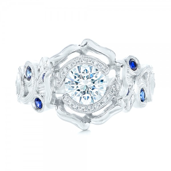 Organic Flower Halo Diamond and Blue Sapphire Engagement Ring - Top View