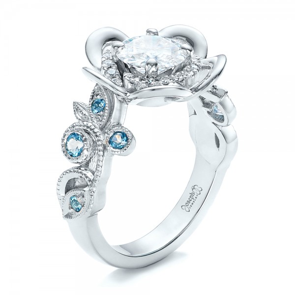 Custom Organic Flower Halo Diamond and Blue Topaz Engagement Ring