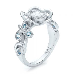 Custom Organic Flower Halo Diamond and Blue Topaz Engagement Ring - Image