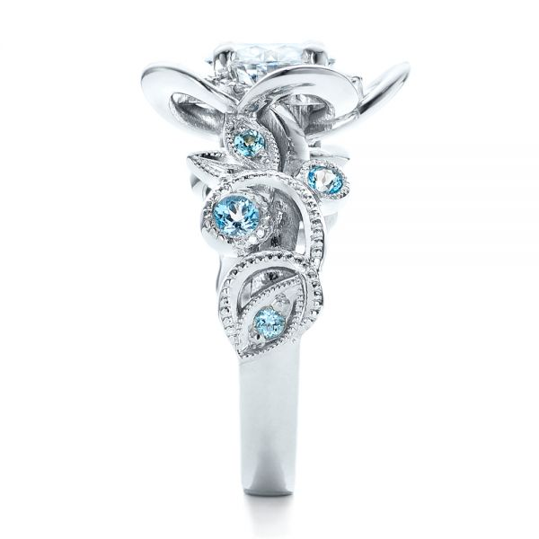 Custom Organic Flower Halo Diamond and Blue Topaz Engagement Ring - Side View -  101946 - Thumbnail