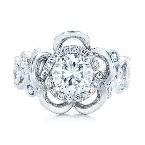 Custom Organic Flower Halo Diamond and Blue Topaz Engagement Ring - Top View -  101946 - Thumbnail