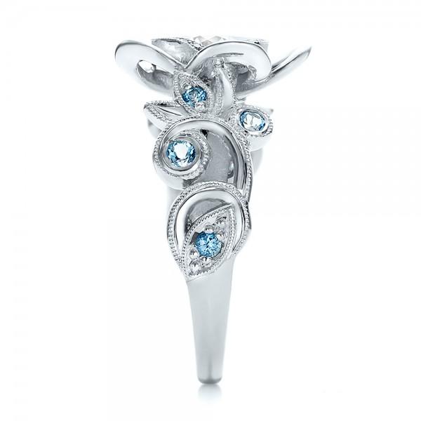 Custom Organic Flower Halo Diamond and Blue Topaz Engagement Ring - Side View