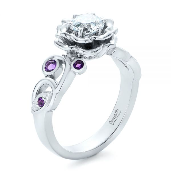 Custom Organic Flower Halo and Amethyst Engagement Ring - Image