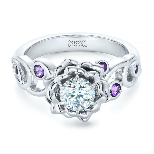 Custom Organic Flower Halo and Amethyst Engagement Ring - Flat View -  102279 - Thumbnail