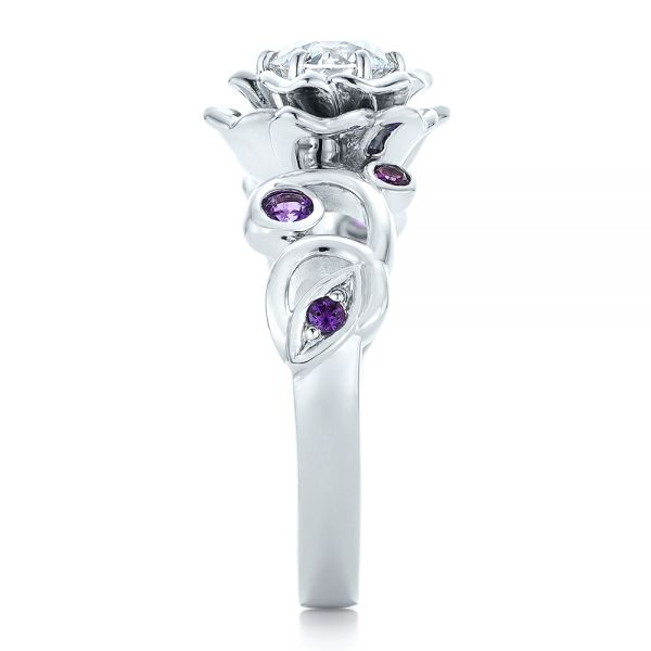Custom Organic Flower Halo and Amethyst Engagement Ring - Side View -  102279 - Thumbnail