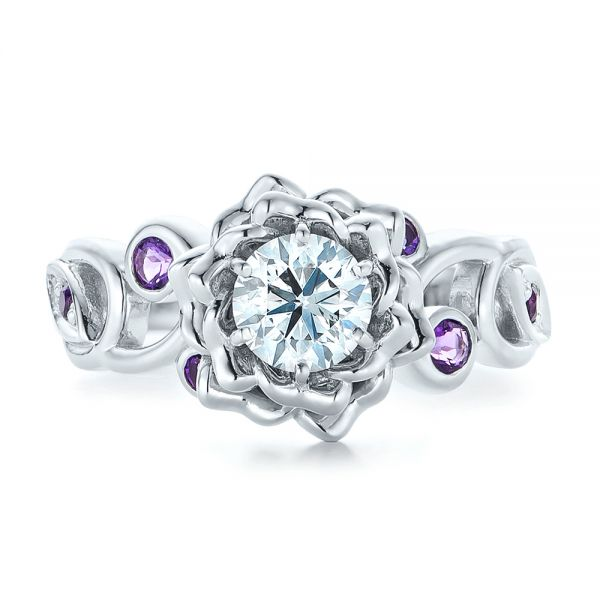 Custom Organic Flower Halo and Amethyst Engagement Ring - Top View -  102279 - Thumbnail