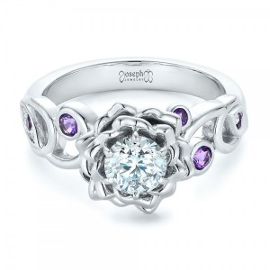 Custom Organic Flower Halo and Amethyst Engagement Ring