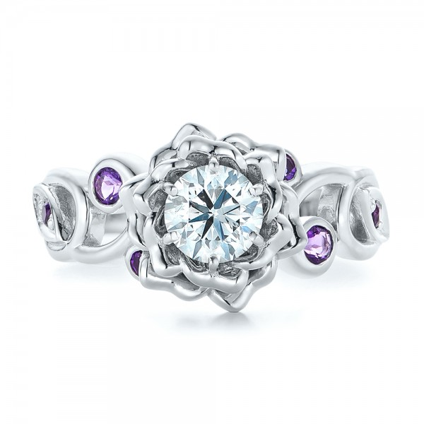 ... Custom Organic Flower Halo and Amethyst Engagement Ring - Top View ...