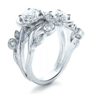 Custom Organic Infinity Diamond Engagement Ring - Image