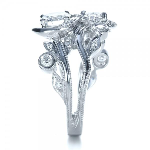 Custom Organic Infinity Diamond Engagement Ring - Side View