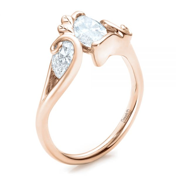 Custom Organic Marquise and Pear Diamond Engagement Ring - Image