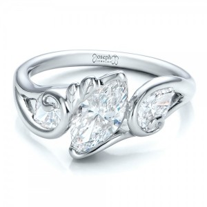 Custom Organic Marquise and Pear Diamond Engagement Ring