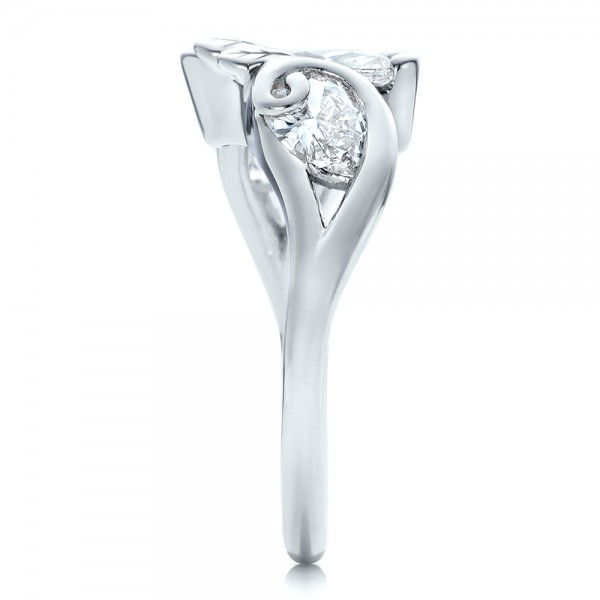 Custom Organic Marquise and Pear Diamond Engagement Ring - Side View