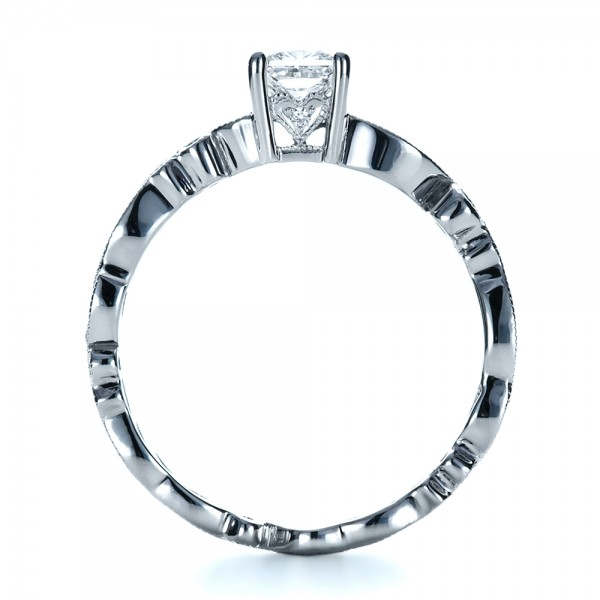Custom Organic Princess Cut Engagement Ring - Finger Through View