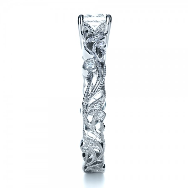 Custom Organic Princess Cut Engagement Ring - Side View