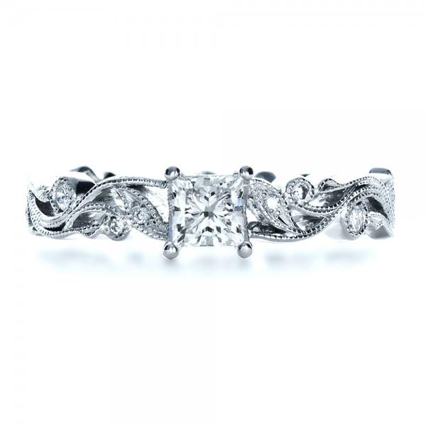 Custom Organic Princess Cut Engagement Ring - Top View