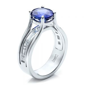 Custom Oval Blue Sapphire Engagement Ring - Image